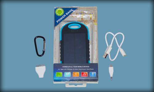 Blue Solar Phone Charger in Package